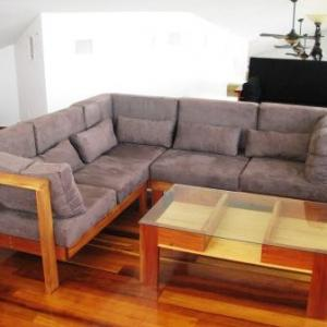 Corner Sofa Hardwood Frame with Micro Suede Cushions