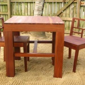 Hardwood Table with Two Chairs