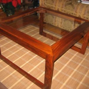 Hardwood Coffee Table with Glass